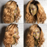 Ombre Blonde Loose Wave Lace Front Human Hair Wigs Side Part...