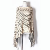 cf29ee4df49ba2 New Womens Double Layer Irregular Tassel Poncho Cape Shawls Wrap Hallow  Lattice Batwing Knit Sweater
