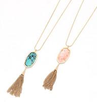 Новая геометрическая цепь Sanke цепи кисточкой цепь бирюзовый розовый цвета длинные кулон сладкое простое ожерелье