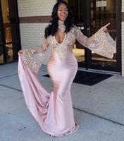 Ilusão Manga Longa Surpreendente Sereia Rosa Vestidos de Baile 2018 Africano Frisado Lace Prom Dress para a Menina Negra Vestidos de Noite com Gargantilha BA7635