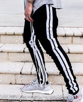 2019 New Fashion Men Women Pants black white stripe Pants bi...