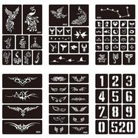 15 개 스타일 1 시트 헤나 방수 문신 스텐실 디자인 여성 바디 아트 에어 브러쉬 페인트 임시 문신 스티커 # 275072