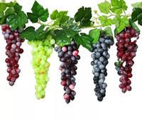 Yapay Meyve Üzüm Küme 36 adet Sahte Meyve Zanaat Plaka Düğün Parti için Yeşil Mor Kırmızı Siyah Ev Bahçe Barları Decorat