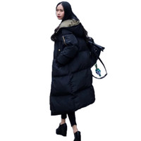 جديد 2016 امرأة الشتاء معاطف و جاكيتات تصميم طويلة فضفاضة أزياء الثلوج ارتداء الترا ضوء ستر أنيقة المعطف عارضة سترة