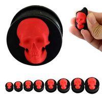 4-25mm Kırmızı Kafatası Yumuşak Silikon Kulak Tünelleri Serin Fişler Punk Kulak Germe Kitleri Genişletici Piercing Kulak Göstergeleri Fiş Vücut Takı