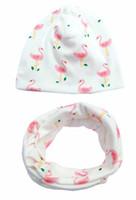 8 Arten INS Baby Druck Hut + O Ring Halstuch 2 stücke Set 2018 Mode Baby Baumwolle Gestreiften Fox Flamingo Cartoon Druck Kappe und Schal Sets