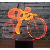 3D LED Night Light Ride Bicycle 7 цветов света для украшения дома лампы удивительные акриловые светильники Бесплатная доставка #R21