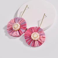 Mode IN beliebten Fancy Mix Farbe Bast Gras Fringe Quaste Disc Blumen-Ohrring weiblich 2018