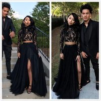 Two Pieces Black Long Sleeves Lace A Line Long Prom Dresses ...