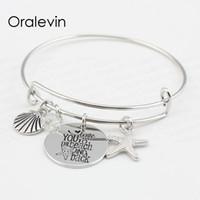 Люблю тебя на пляж и обратно оболочки Морская звезда диск подвески кулон браслет Браслет любовник подарок для детей ювелирные изделия, 10 шт. / лот,#LN102B