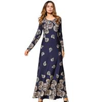 5c85479be0 Wholesale cotton abaya dress online - Euramerica Printed Long Dress Ong  Sleeved Dubai Fashion Women Dresses