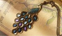 estilo europeo y americano caliente de la joyería de la gema del pavo real de la moda suéter cadena larga cadena de la vendimia del collar suéter clásico delicado