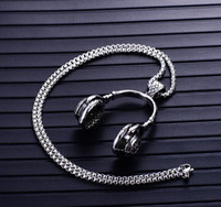 2018 Beliebte europäischen und amerikanischen Edelstahl Musik Kopfhörer Anhänger Mode Männer und Frauen Ohrstöpsel Halskette