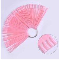 매니큐어 젤 네일 아트 연습 도구 키트에 대 한 50 PC 팬 모양의 핑크 틀 못 팁 표시 보드 아크릴 UV 폴란드어 컬러 카드