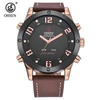 5e8b2e3565a Top Marca OHSEN Moda Dual Time Watch Relógio de Quartzo LED À Prova D  Água Masculino  Relógio Digital de Homens de Negócios Anolog Relógios De Pulso Relogio