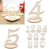 10pcs / lot 패션 목조 결혼식 파티 용품 1-10 / 11-20 장소 홀더 테이블 번호 그림 카드 디지털 좌석 장식