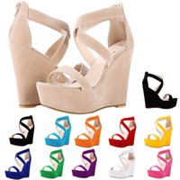 Women Sandals Nude New Platform Flock Gladiator Sandal Wedge...