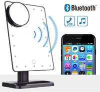 180 grados de rotación 20 LED Pantalla táctil Espejo de maquillaje Altavoz Bluetooth 10X Espejos de aumento Luces Herramienta de belleza DHL envío gratis