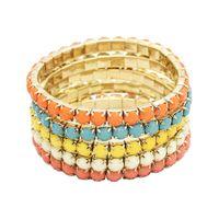 Multi strand resina pedra colorida gema frisada pulseira de bracelete