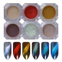 BORN PRETTY 6 Scatole 3D Cat Eye Powder Magic Mirror Polvere Polvere UV Gel Polish Nail Glitter Polvere di pigmento magnetico