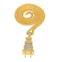 Hip Hop Halskette mit Mens Iced Out Bling Bling Plug Anhänger Gold und Silber Farbe Charme Micro Pave voller Strass versandkostenfrei