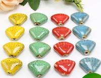 30 pzas 20 * 15 mm, tamaño de agujero de 2 mm granos de porcelana, color mezclado, perlas sueltas de cerámica DIY hallazgo de la joyería