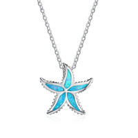 Genuine 925 Sterling Silver Necklace Starfish Blue Opal Pendant Xmas Gifts Mulheres Jóias fabricantes que procuram distribuidor