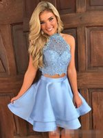 2019 Two Pieces Homecoming Dresses Halter Neck Sleeveless La...