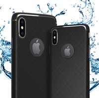 Pour iPhone X XR XS MAX 6S 7 8 Plus Samsung S9 Plus Note 9 Cross Stripes Anti-empreintes digitales Ultra Mince TPU Téléphone Cas