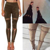 Женская одежда длинные брюки женщина замша выдалбливают дизайн повязки тонкие брюки женщины сексуальные узкие брюки карандаш