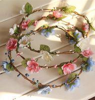 Свадебные свадебные девушки венок Цветочные цветочные короны для женщин Детский головной небольшой вишневый тиара Гарланд волос группы головной убор