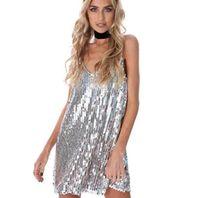 Платья сексуальные элегантные женские U-образные шеи блестки платья женские женские колье скольжения платье вечерняя вечеринка выпускные платья