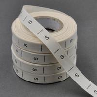 400 teile / los / Rolle Größe Etiketten Kleidungsstück gewebt Tags XS-6XL Beige Baumwolle Band Größe Etiketten Nähen Baumwolle gedruckt Etikett