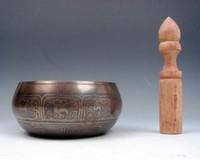 Vintage Tibet Pirinç Altın Yaldızlı Çakra Büyük Singing Kase Meditasyon Gongs W / STRIKA Antik Bahçe Dekorasyon Gümüş Pirinç