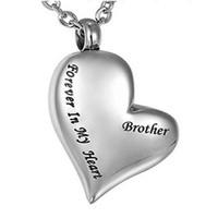 Wholesale Memorial Relatives os Brother Brother Collier d'urne en forme de cœur incliné peut ouvrir les bijoux de crémation funéraire de la bouteille de parfum