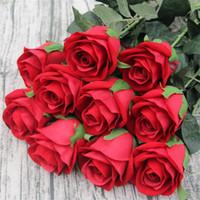 Faux Tige Simple Simulation Rose Velours Roses Demi Ouvert pour DIY Mariage Bouquet De Mariée Fleur Arrangement Accessoires 5 Couleurs Disponibles