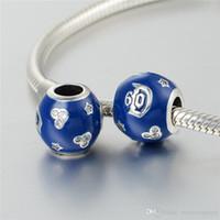 5 pezzi / lotto Disnny all'ingrosso Blu 60 ° anniversario Charms Branelli S925 Sterling Silver Fit per Braccialetti di stile H6