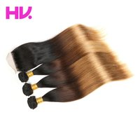 Ombre peruvian straight Human Hair Bundles with 4*4 Lace Clo...