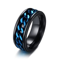Rotatable Blue Chain Mens Spinner Rings Stylish Black Stainl...