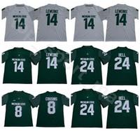 2018 2019 Michigan State Spartans 14 Brian Lewerke 저지 남성 대학 24 Le'ee Bell 8 커크 사촌 축구 유니폼 Green White