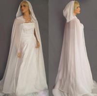 Novo branco marfim mulheres xaile chiffon casamento manto longo com capuz nupcial tops acessórios do casamento