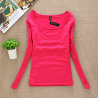 New Female T- shirt Long Sleeve Winter Top Tee Candy Color T-...