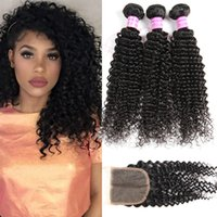 8A Brazilian Virgin Kinky Curly Human Hair Bundles With Clos...