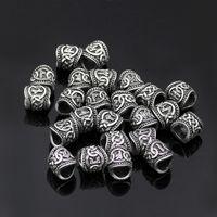 P1856 Dongmanli 24 pz Viking Runes Perline Charms Perle Risultati Per Bracciali Per Ciondolo Collana Barba O Capelli Vikings Rune Kit