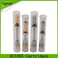 AC1003 خرطوشة 0.5 ملليلتر 1.0 ملليلتر الفضة الذهب معدن بالتنقيط تلميح بيركس زجاج أنبوب خزان مع أفقي السيراميك لفائف 510 خراطيش dhl 0266211-1