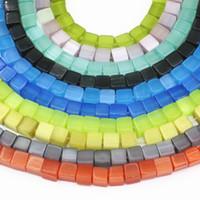 DIY 6mm Forma de Cubo Multicolor Ojos de Gato Grano Para La Fabricación de Joyas Opal Crystal Jades Granos Flojos Diy Resultados de la joyería 15 pulgadas