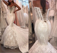 Sexy Crystal Sweetheart Lace Mermaid Dancing Wedding Dresses...