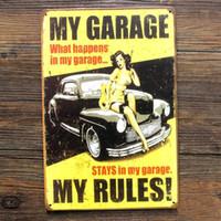 """Pintura de Metal cartaz Garagem retro """"fábrica de automóveis"""" arte da parede decoração House Cafe Bar placas de ferro Do Vintage navio Livre 20 * 30 CM"""