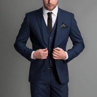 Custom made Navy Handsome Wedding Groomsmen Suits Party Prom...