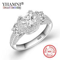 Yhamni 100٪ 925 الاسترليني الشظية خواتم للنساء فاخرة 7 ملليمتر زركون الشظية الاشتباك خاتم الزواج المجوهرات هدية YJZ096